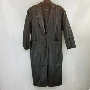 Pelle Button Black Leather Trench Coat Size M Long